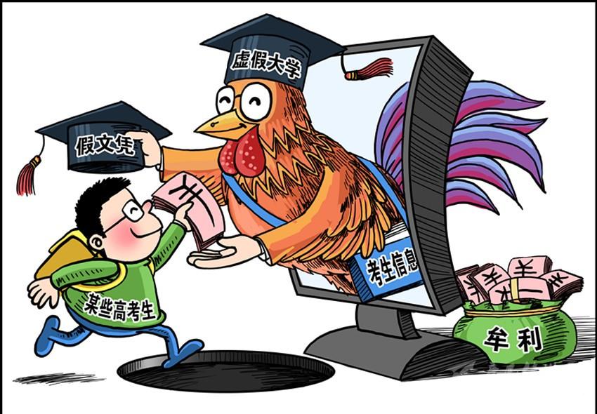虚假大学 21世纪教育研究院副院长熊丙奇:虚假大学是以制造假大学网站来进行欺诈,根本没有注册,也没有校舍,没有师资,其性质就是网络诈骗,和网络电信诈骗、金融诈骗一样。 野鸡大学 上大学网创始人夏雪认为,野鸡大学是指不具备颁发学历文凭的机构,大多有实体存在,却以大学名义招生,颁发所谓的文凭学历。 正规高校 目前,国内正规高等学校主要分三类,一类是授予全日制文凭、学位的学校,这类学校列入计划招生,学生毕业获得国家承认的文凭;另一类是进行成人高等教育、自考助学的学校,学生通过考试授予成人教育文凭;还有一类是
